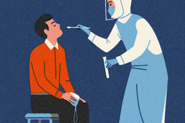 Illustrated image of man getting a swab test by a medical professional